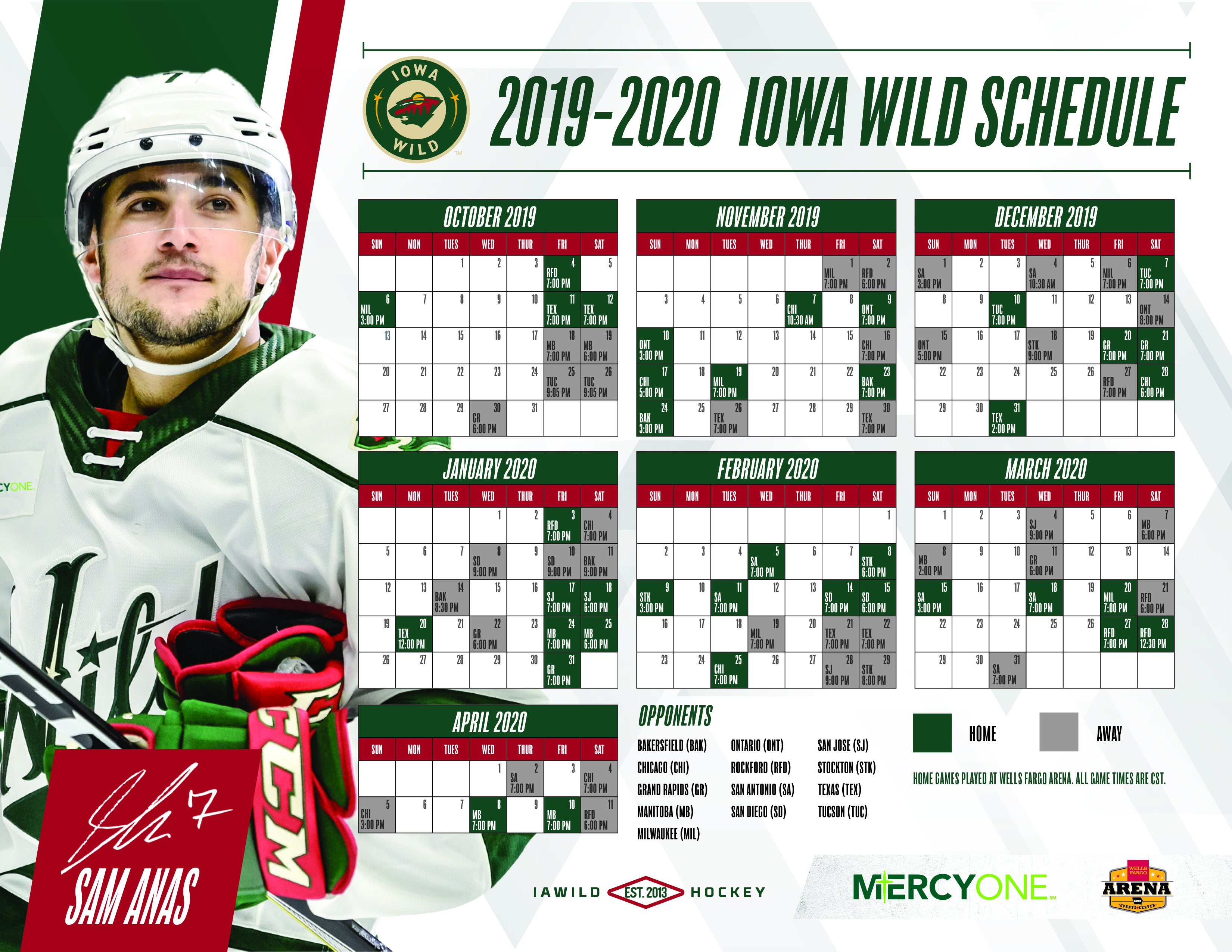 This is an image of Vibrant Minnesota Wild Printable Schedule