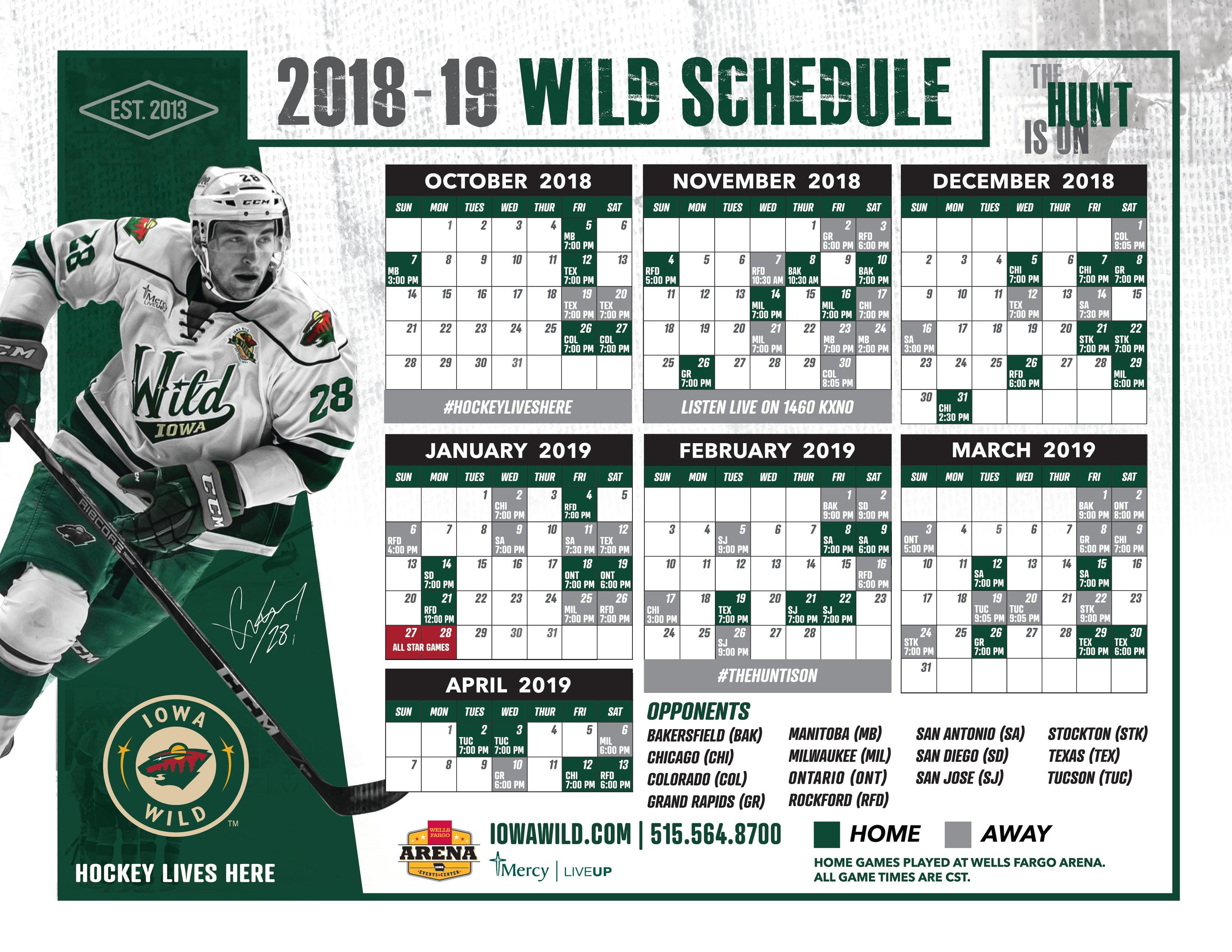Iowa Wild Announces Full 2018 19 Schedule Iowa Wild