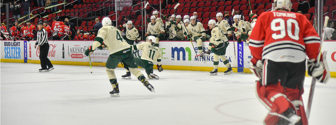 WILD FINISH ICEHOGS IN OVERTIME 3-2 AT WELLS FARGO ARENA